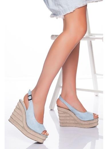 Derithy Derithy-Dolgu Topuklu Ayakkabı-Mavi Süet Mavi